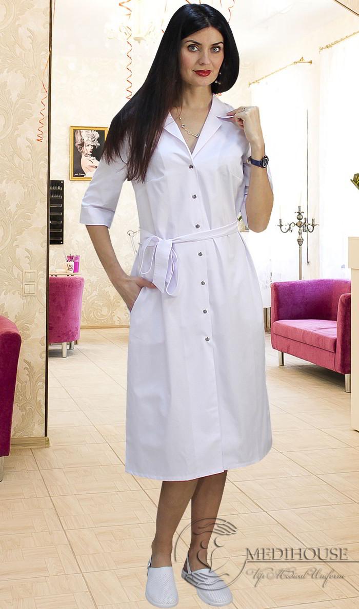 Женское медицинское платье-халат мод. Мила White