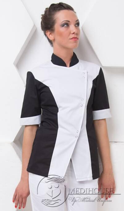 Женский медицинский блузон мод. 4/B&W