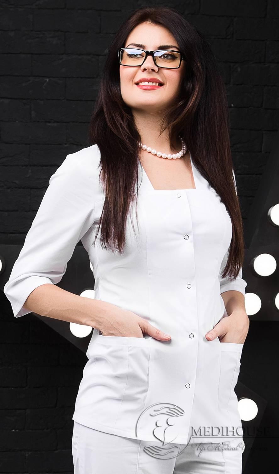 Женский медицинский блузон мод. 1.3 White