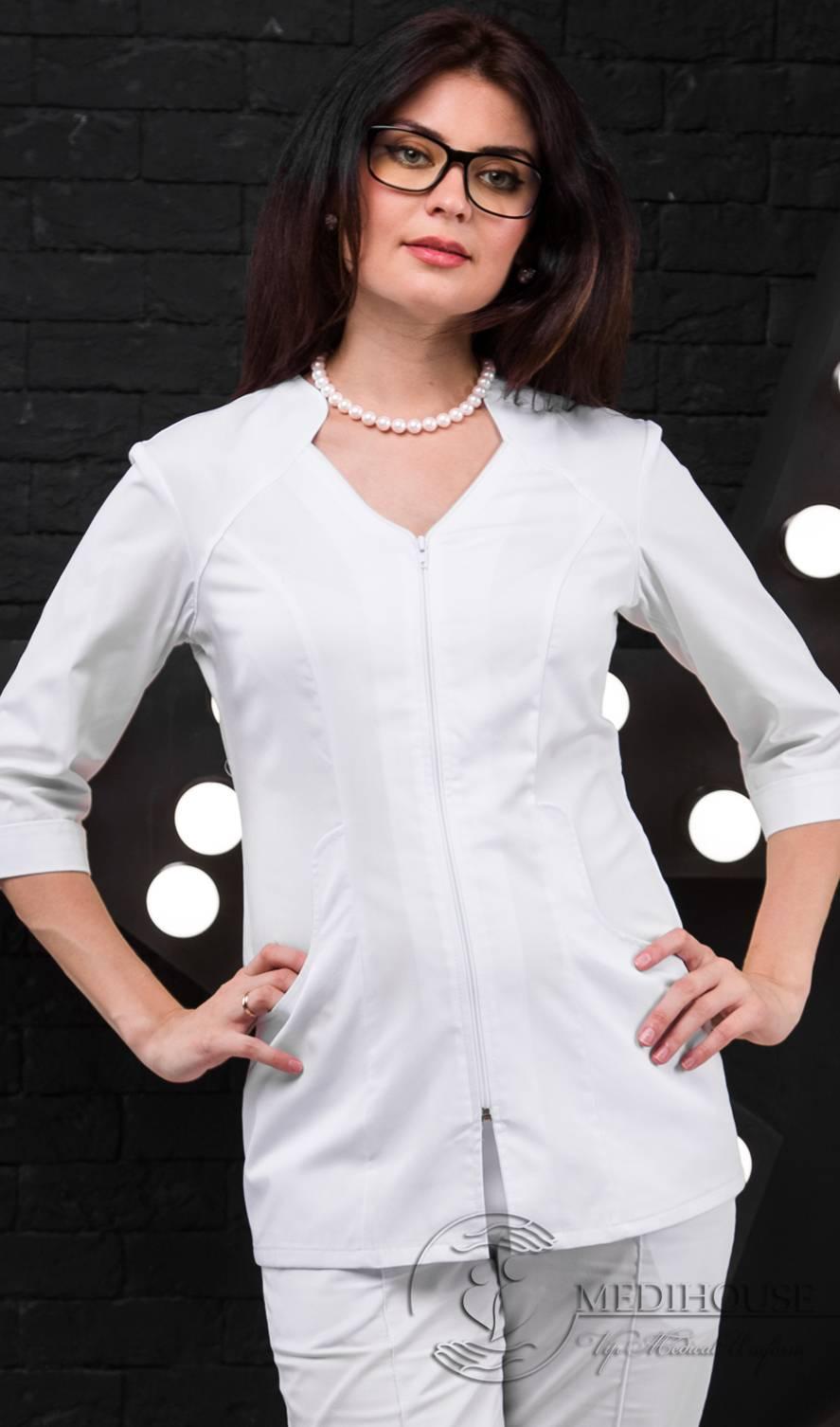 Женский медицинский блузон мод. 1.5 White
